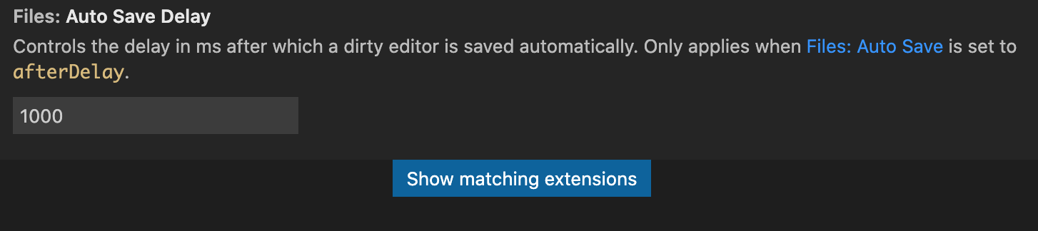 Auto Save Delayの保存時間設定の例