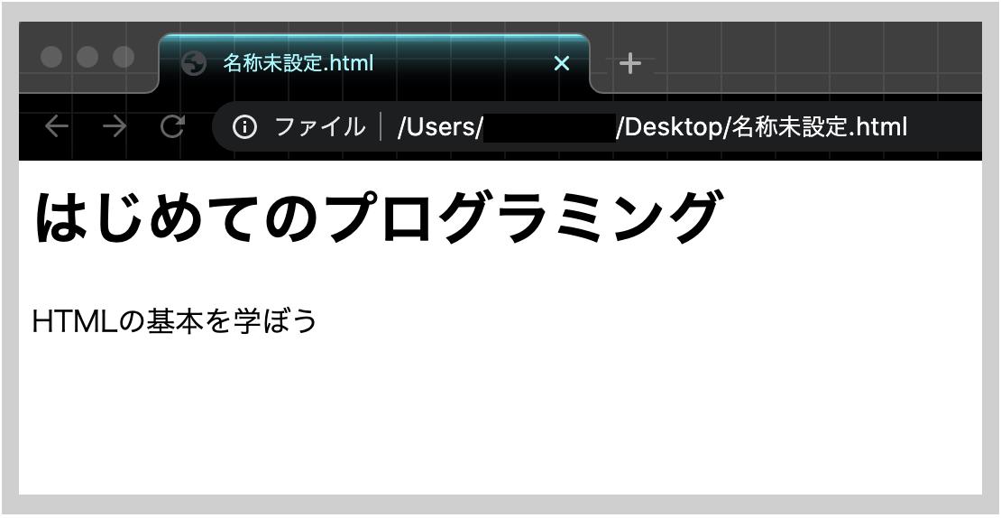 .htmlファイルを実際のブラウザに映した例