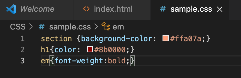 VSCode上のCSSファイルの例