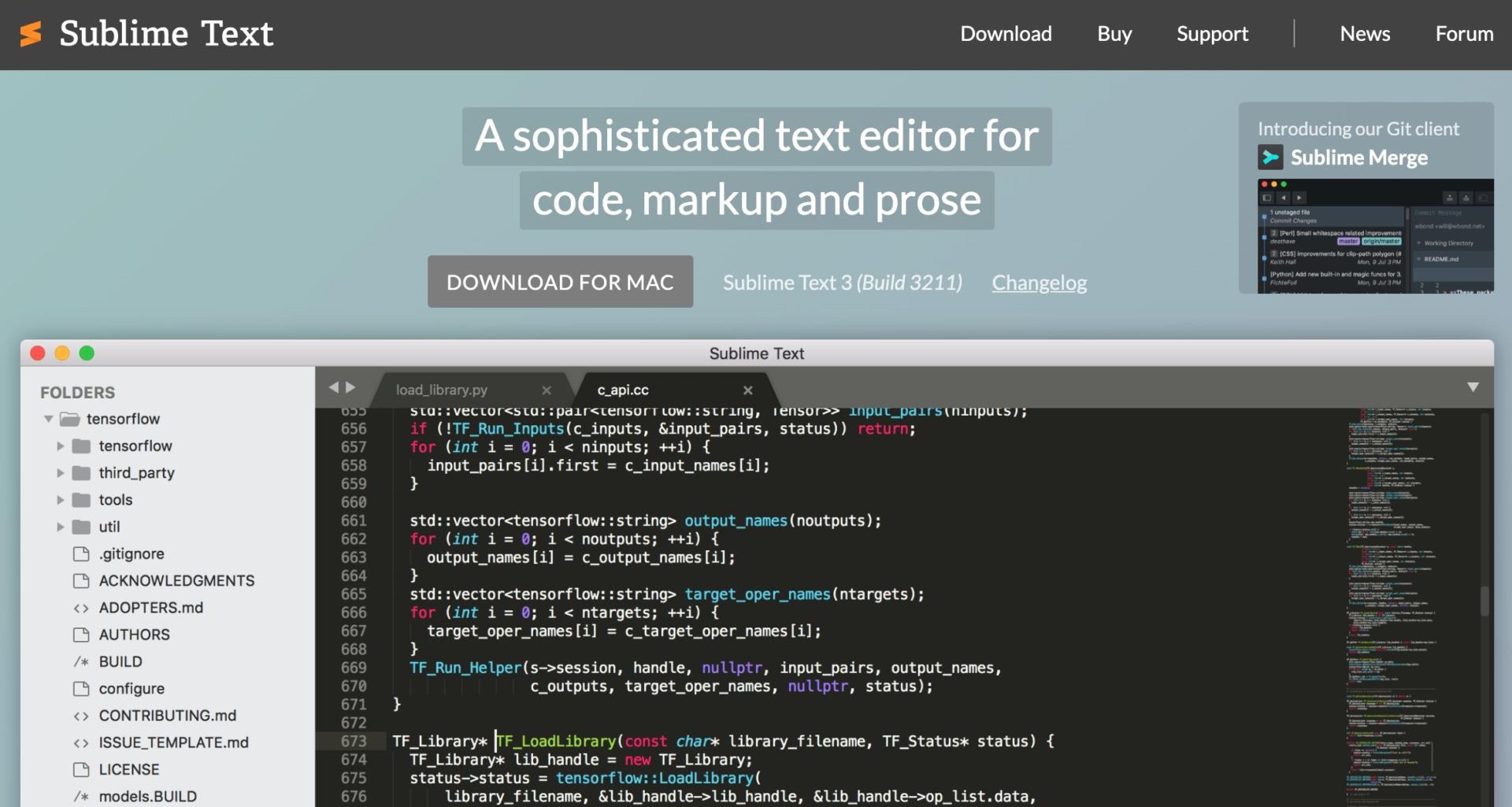 テキストエディタ「Sublime Text」のWEBサイトのトップページ