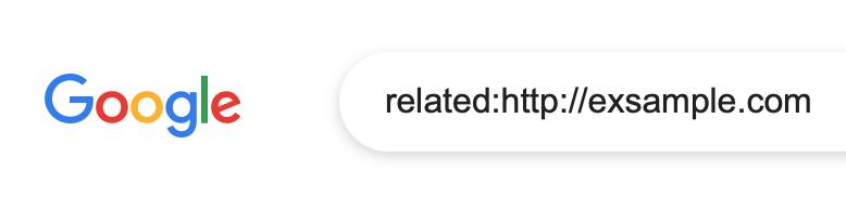 Google検索窓に入力された「類似サイト検索」の例