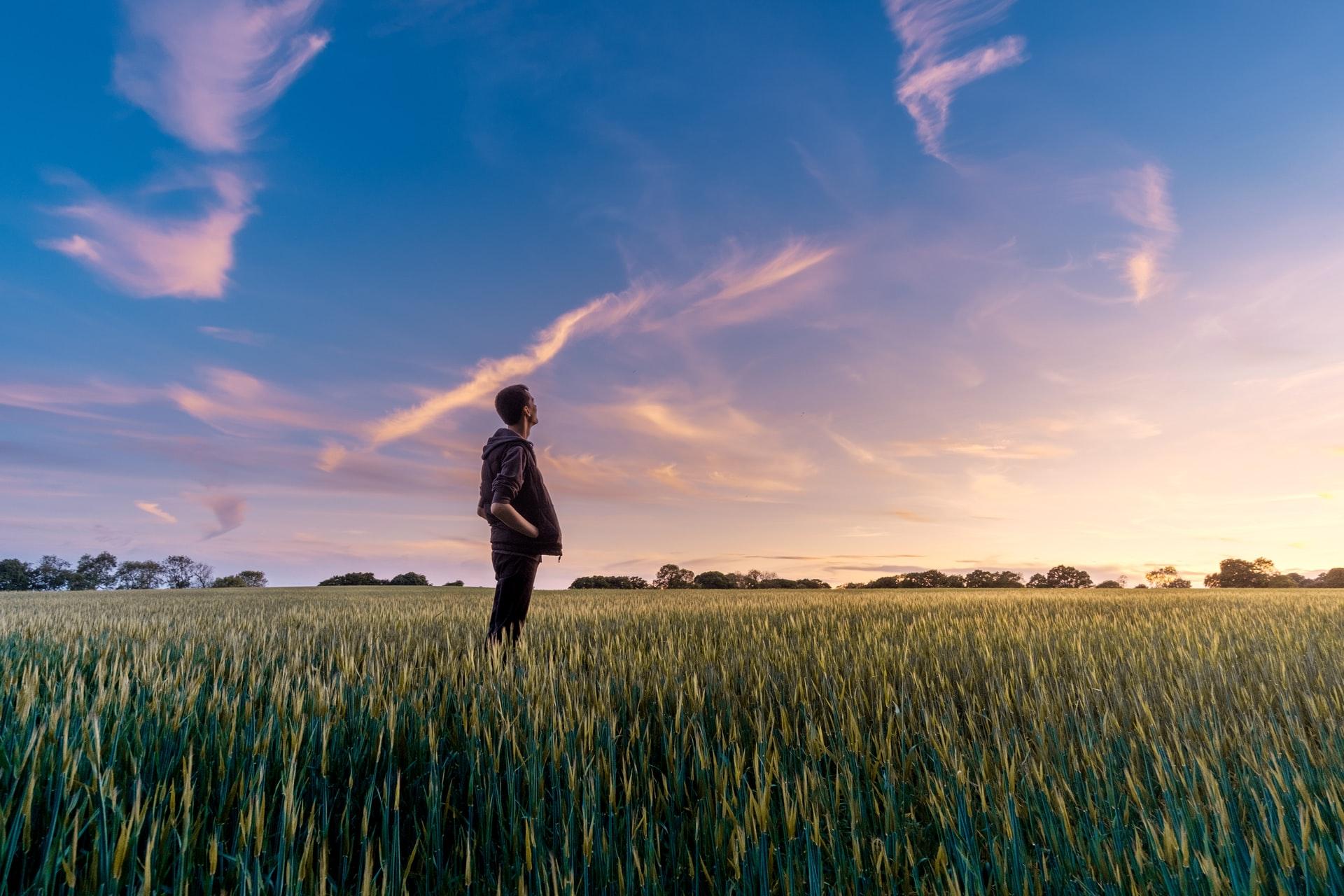 大空を見上げ自分の未来を考える青年