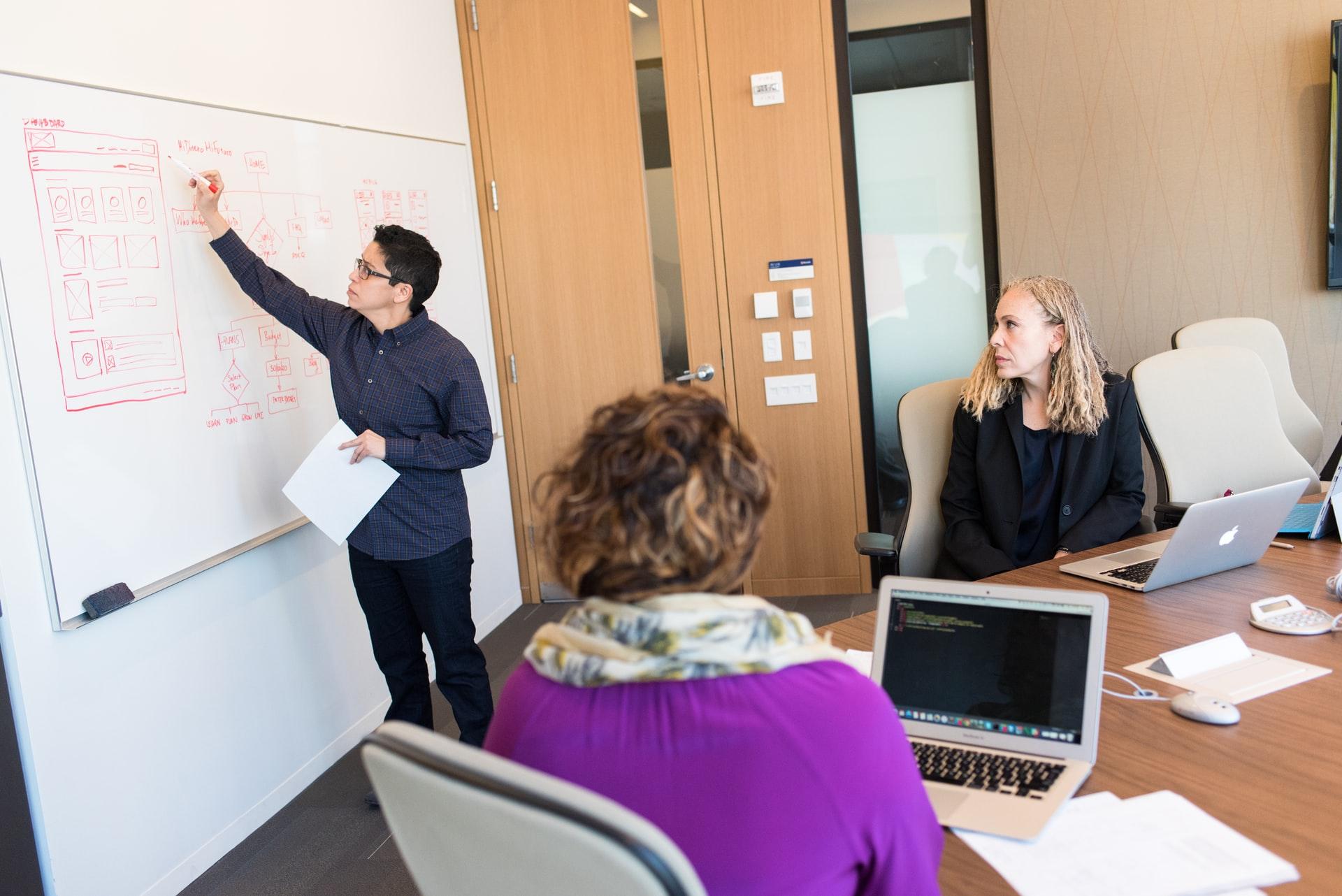 会議でWEBの要件定義を説明するWEBエンジニア