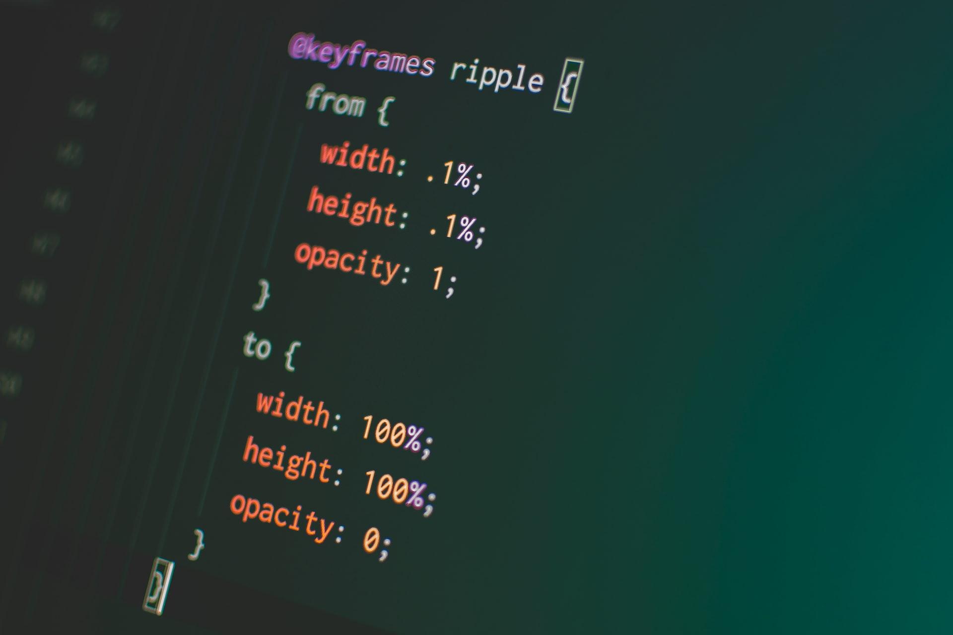 CSSのコーディング画面