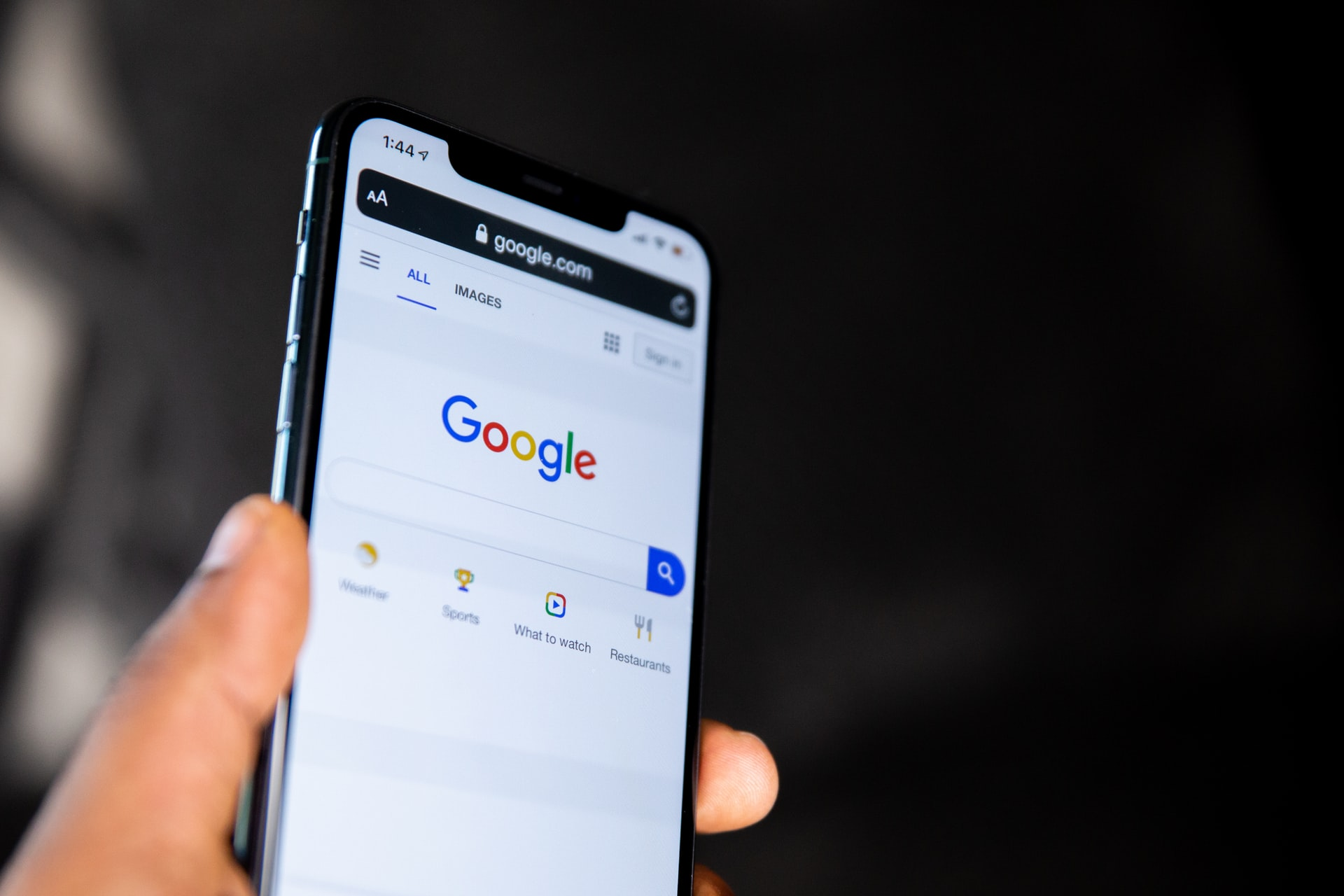 スマートフォン版Google検索のトップ画面