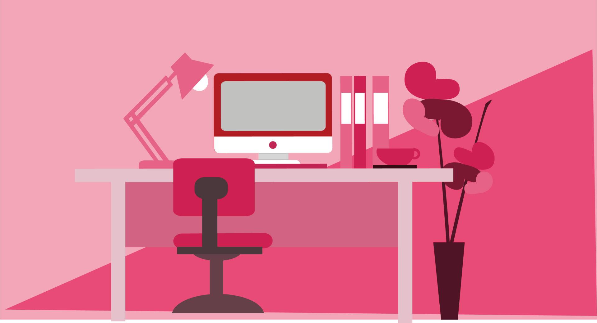 フラットデザインで描かれた仕事机