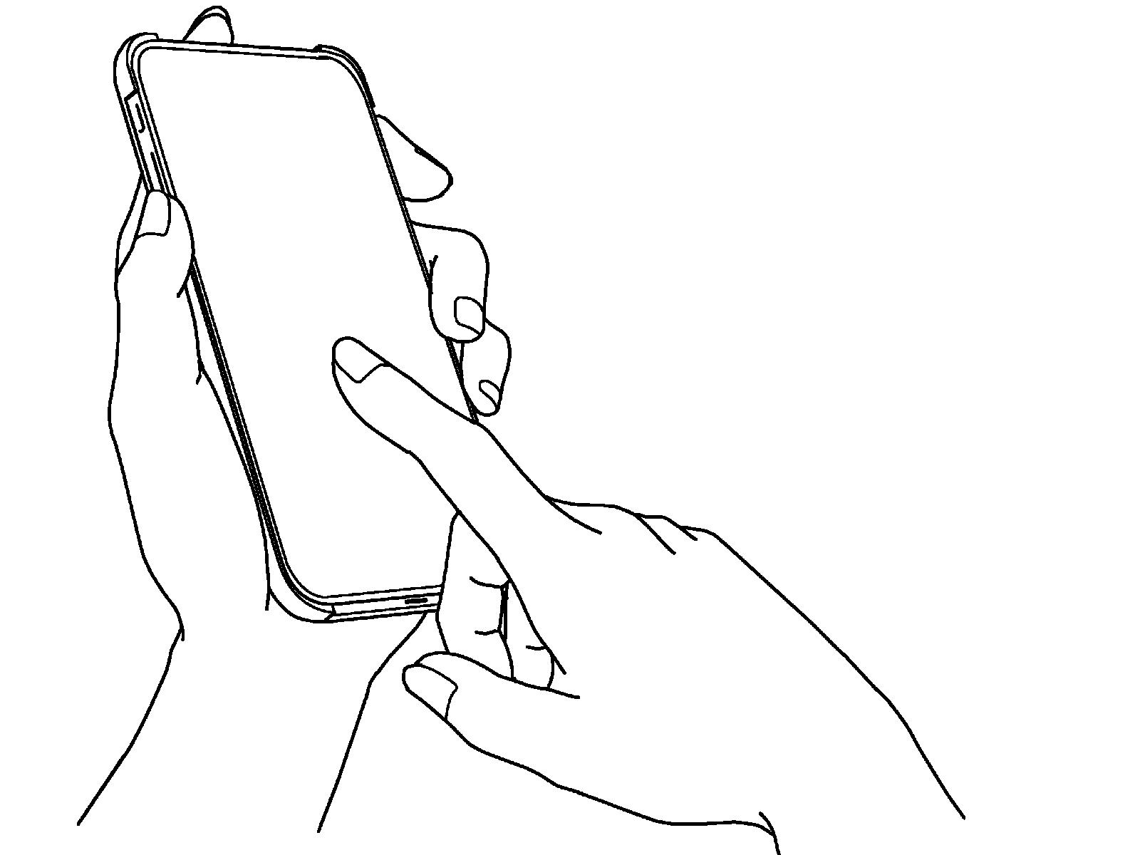 スマホを操作する手のイラスト