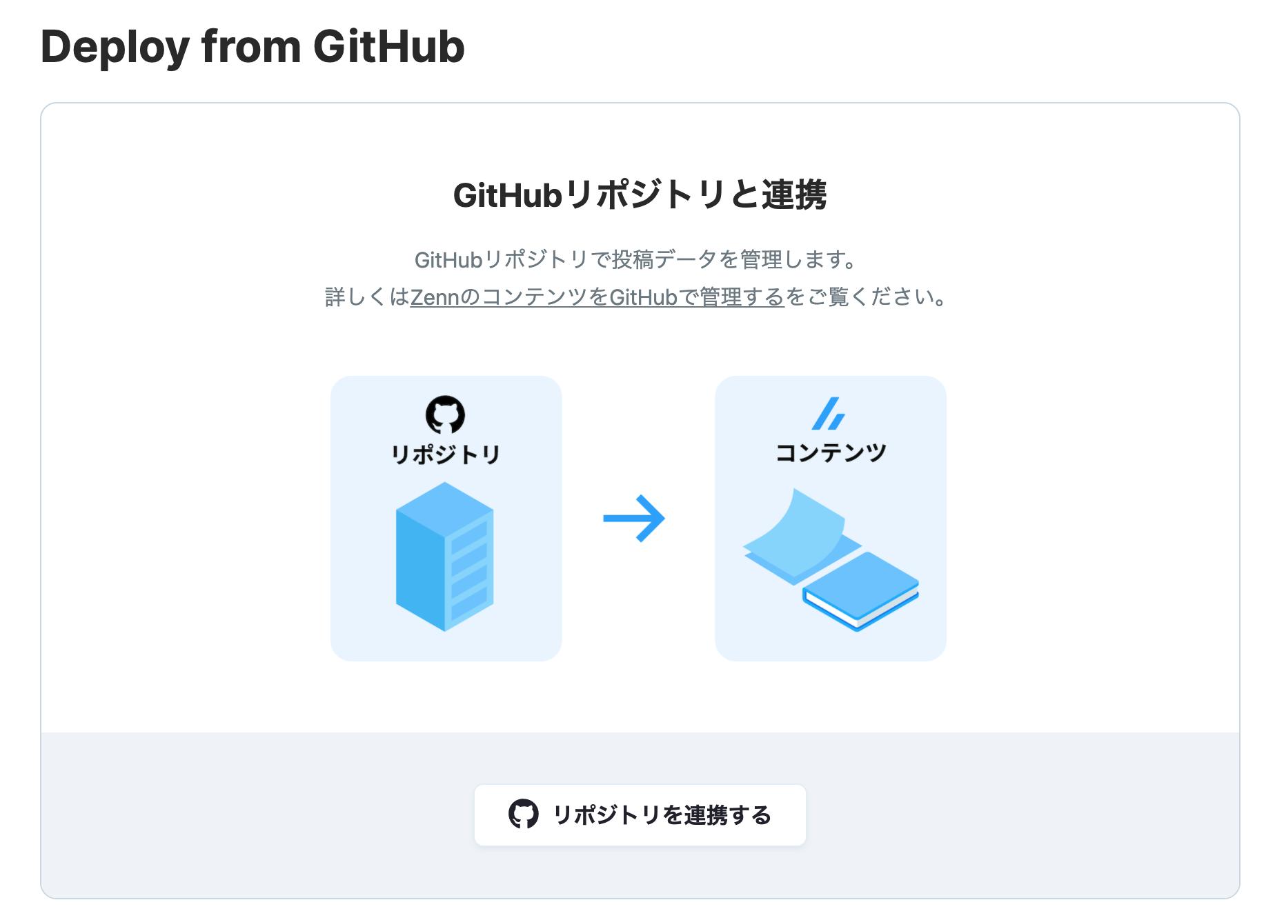 GitHubと連携する画面