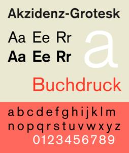H. ベルトールドAG活字鋳造所設計のアクチデンツ・グロテスク(Akzidenz Grotesk)